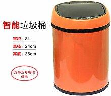 Smart Papierkorb Bonbonfarbenen Edelstahl Abfalleimer Küche Wohnzimmer Zimmer sensor Mülleimer 24cmx 36 cm hoch, Orange