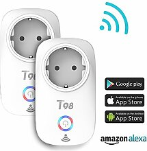Smart Steckdose, Greatever intelligente WLAN Steckdose Wifi Smart Plug Funksteckdose Fernbedienung Steckdose Kompatibel mit Amazon Alexa (Echo, Echo Dot) Google Assistant (2 Pack)