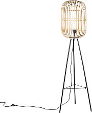 Smarte ländliche Stehlampe Rattan inkl. WiFi A60