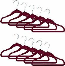 Smartfox 10 Stk. Kinder Kleiderbügel mit Samt-Beschichtung, nur 0,4 cm dünn, aus Kunststoff in ro