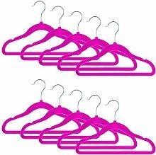 Smartfox 10 Stk. Kinder Kleiderbügel mit Samt-Beschichtung, nur 0,4 cm dünn, aus Kunststoff in pink