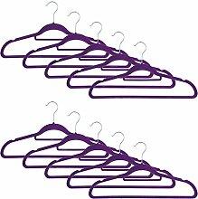 Smartfox 100 Stk. Kleiderbügel mit Samt-Beschichtung, nur 0,5 cm dünn, aus Kunststoff in lila