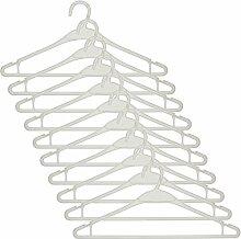Smartfox 100 Stück Kleiderbügel Anzugbügel Wäschebügel mit Hosenstange und Rockhalter aus Kunststoff in weiß
