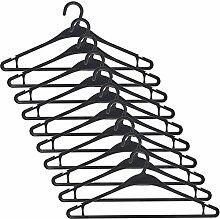 Smartfox 30 Stück Kleiderbügel Anzugbügel Wäschebügel mit Hosenstange und Rockhalter aus Kunststoff in schwarz
