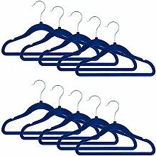 Smartfox 5 Stk. Kinder Kleiderbügel mit Samt-Beschichtung, nur 0,4 cm dünn, aus Kunststoff in blau