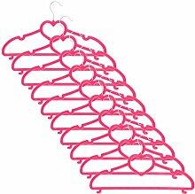 Smartfox 50 Stk. Kleiderbügel Wäschebügel mit Herz und Samt-Beschichtung nur 0,5 cm dick aus Kunststoff in pink