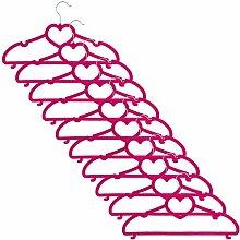 Smartfox 50 Stk. Kleiderbügel Wäschebügel mit Herz und Samt-Beschichtung nur 0,5 cm dick aus Kunststoff in magenta