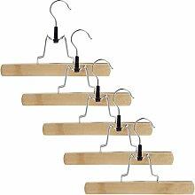 Smartfox 5x Kleiderbügel Hosenbügel Hosenklemmbügel Hosenhalter Hosenspanner aus Holz 360 Grad drehbar und 25cm lang