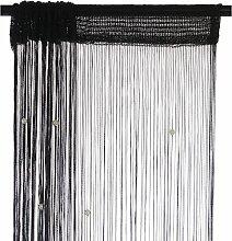 Smartfox Fadenvorhang 100 x 250 cm in Schwarz mit