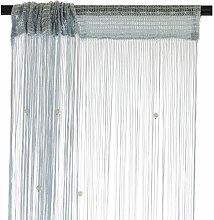 Smartfox Fadenvorhang 100 x 250 cm in Silbergrau
