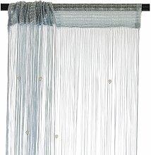 Smartfox Fadenvorhang 140 x 250 cm in Silbergrau