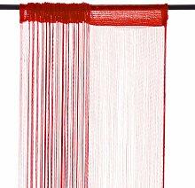 Smartfox Fadenvorhang, 150 x 250 cm in Rot, Fadengardine Fadenstore Vorhang Schal Faden