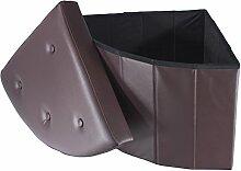 Smartfox faltbarer Sitzhocker Sitzwürfel Aufbewahrungsbox Stauraum 48 x 48 x 40 cm Eckteil mit Knöpfen Braun