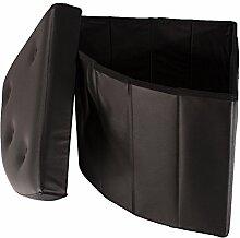 Smartfox faltbarer Sitzhocker Sitzwürfel Aufbewahrungsbox Stauraum 48 x 48 x 40 cm Eckteil mit Knöpfen Schwarz