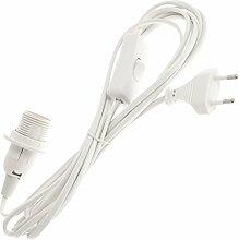Smartfox Netzkabel mit Schalter und E14 Lampenfassung incl. Schraubring in weiß 3,2m