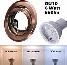 SMD LED Einbaustrahler 230 Volt 6w 38° GU10 Lampe