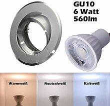 SMD LED Einbaustrahler 230 Volt 6w 38° GU10 Set