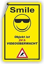 SMILE - Objekt ist videoüberwacht - SCHILD / D-020 (40x60cm Aufkleber)