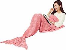 Smile Ykk 195*90cm Einheitgröße Meerjungfrau Deisgn Damen Mädchen Herbst Winter Wolldecke Kuscheldecke Wohndecke Pink