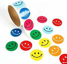 Smiley-Aufkleber, 100 runde Papieretiketten für