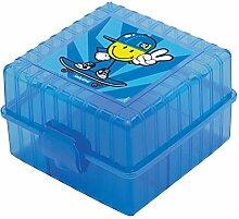 Smiley Boy Brotdose Trennwand 12,5 x 12,5 cm, blau