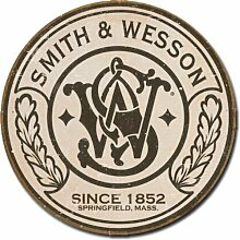 Smith & Wesson - Rundes Blechschild, 28,9 x 28,9