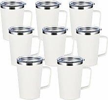 SMLIXE Kaffeebecher aus Edelstahl, mit Griff und
