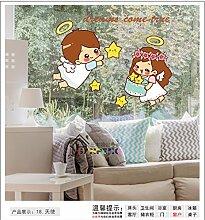 Smncnl Wandaufkleber können Badezimmerfliesenbadezimmer-dekorative Aufkleber PVC-wasserdichte koreanische nette Aufkleber der Karikatur nette Wandaufkleber, Engel entfernen