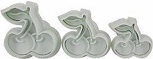 SMO 3pc Kirsche Fondant-Kuchen Sugarcraft Form Cookie-Plunger Cutters Werkzeuge