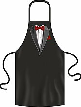 Smoking Fliege rot - Grillschürze Einheitsgrösse 100% Baumwolle - BBQ, Bar-B-Q, BBQ, Partyschürzen