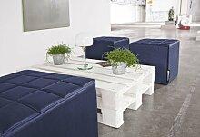 Smoothy CUBE Sitzwürfel Sitzhocker Hocker aus Hightech Nylon gepolstert in Indigo-Blau