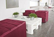 Smoothy CUBE Sitzwürfel Sitzhocker Hocker aus Hightech Nylon gepolstert in Bordeaux-Ro