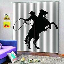 SMXFFF 3D Wärmedämmende Vorhänge Cowboy