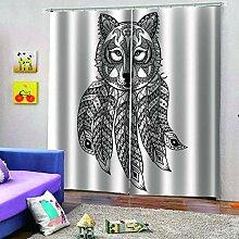 SMXFFF 3D Wärmedämmende Vorhänge Wolfsmuster