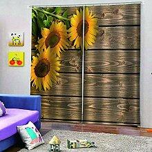 SMXFFF 3D Wärmeisolierte Vorhänge Sonnenblume