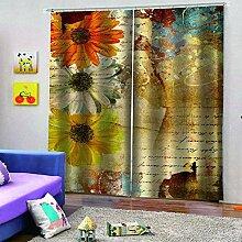 SMXFFF Blackout 3D Curtain Einfache Blumen
