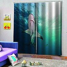 SMXFFF Blickdicht Vorhänge 3D Hai Blickdichte
