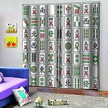 SMXFFF Blickdicht Vorhänge Mahjong Gardinen