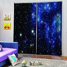 SMXFFF Blickdicht Vorhänge Schöner Sternenhimmel