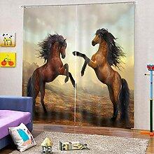 SMXFFF Verdunkelungsvorhang 3D Pferd Blickdichte