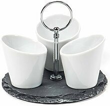 Snackschale, 3 Keramikbecher mit rundem Schiefer-Tablett, Größe ca. 15 cm