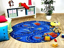 Snapstyle Kinder Spiel Teppich Walt Disney Cars Auto Blau Rund in 7 Größen