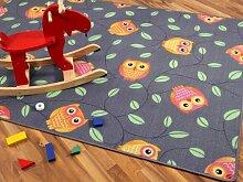 Snapstyle Kinder Spielteppich Eule Grau Anthrazit Orange in 24 Größen