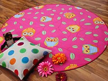 Snapstyle Kinder Spielteppich Eule Lila Pink Rosa Rund in 7 Größen