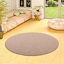 Snapstyle Natur Teppich Wolle Berber Braun Rund in