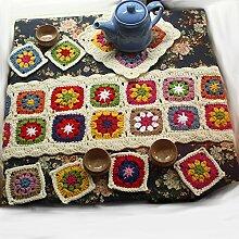 Sneff Trade Vintage ländlichen Stil Wolle Tischdecke Set, Platzsets, Tischläufer, 8Stück, Teekanne Matte und Tasse Matte