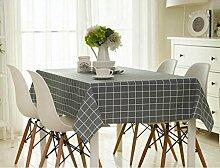 SNHWARE Baumwolle Und Leinen Tischdecke Mit Wasserdichtes Plaid-Muster Und Umweltschutz Durable,Grey-140*220cm