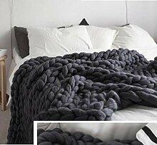 SNHWARE Handgestrickte Strickdecke Super Rough Imitation Wool Für Den Wollteppich Für Erwachsene Kinder,Darkgray-60X60CM0.63KG