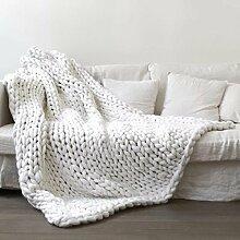SNHWARE Handgestrickte Strickdecke Super Rough Imitation Wool Für Den Wollteppich Für Erwachsene Kinder,White-60X60CM0.63KG