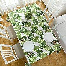 SNHWARE Tischdecke Mit Baumwoll-Speck Blattmuster Umweltschutz Und Langlebig,Green-140*200CM
